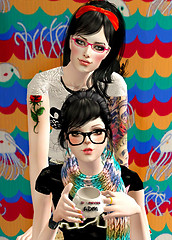 girls with glasses in the sims