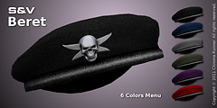 Beret with Skull Badge