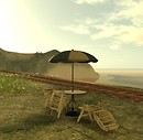 peaceful scene with beach table chairs and train tracks and hill   seagulls  flying - torley.linden
