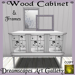 White Wood Cabinet *Flowers* & Frames