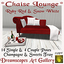 Chaise Lounge *Ruby Red & Snow White* Dreamscapes Art Gallery for TOSL
