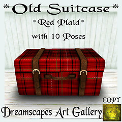 *Old Suitcase* Red Plaid