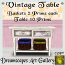 Vintage Table with Baskets - Dreamscapes Art Gallery