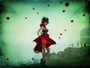 red petals blow
