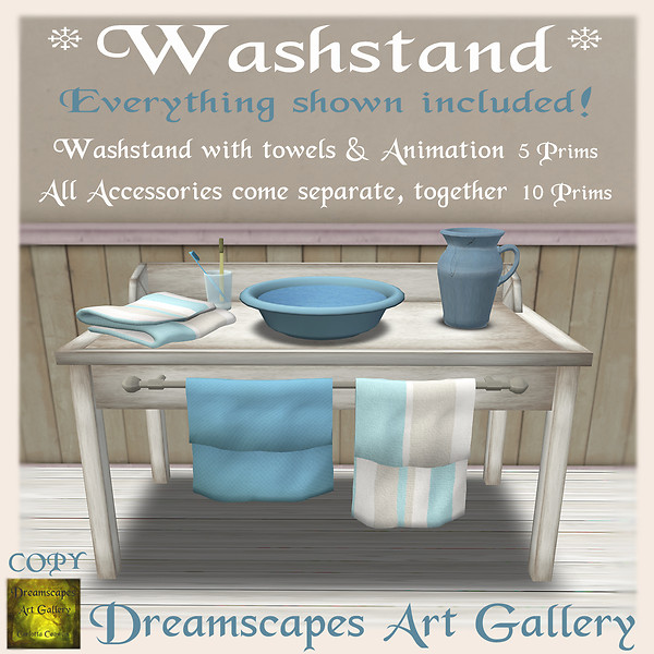*Washstand* with animation & accessories - Dreamscapes Art Gallery