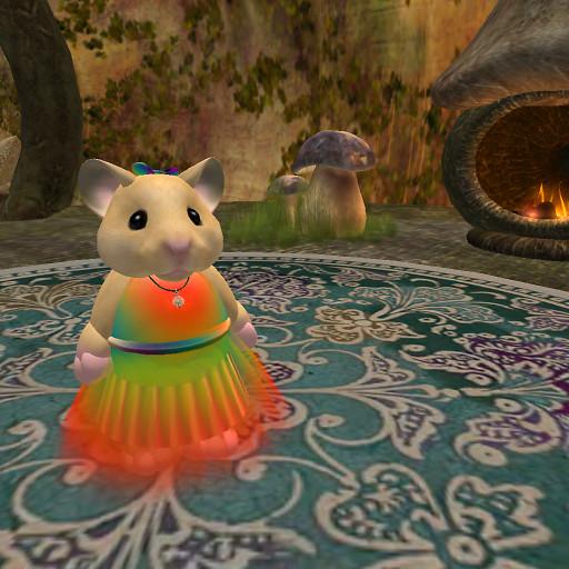 QT Tiny with rainbow dress & bow