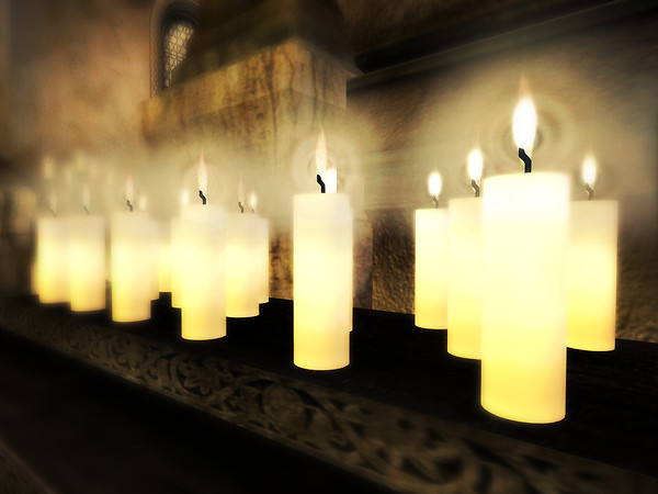 Candles lining