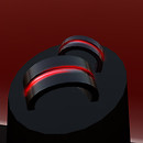 QT His & Her's pulsing red & black wedding bands