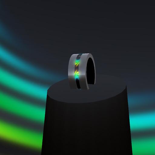 QT Men's steel & wave pulsing ring