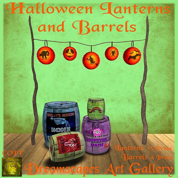 Halloween Lanterns and Barrels - Dreamscapes Art Gallery
