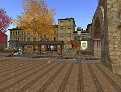 Ahavah Rail Station and shopping district in autumn