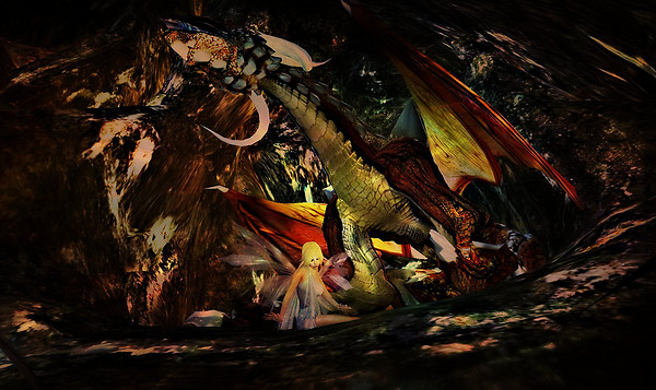 One of the resident dragons in these fabulous caves