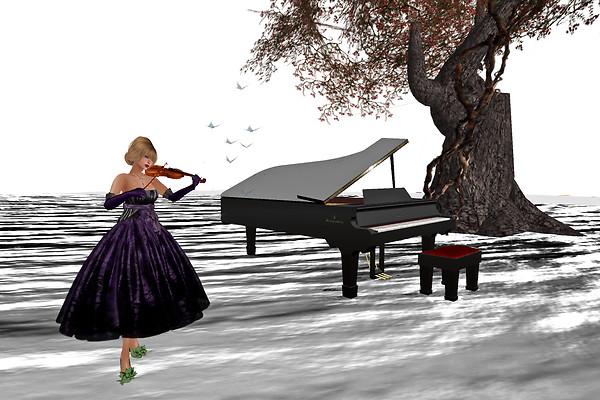 playing violin in Chouchou Jan 29 2012 silver bg R