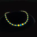 QT Bakelite bead choker - Gold & Blue