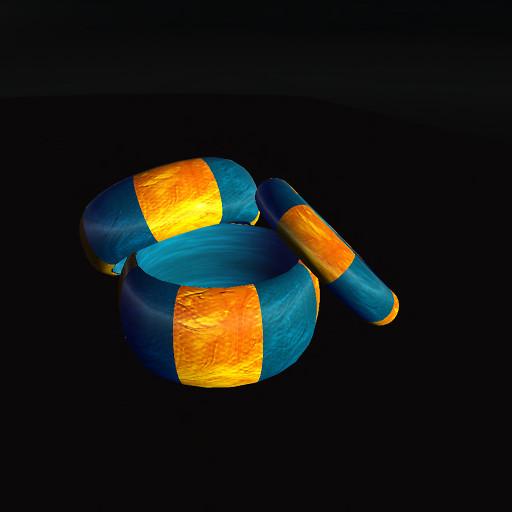 QT Swirl Bangle Set, Gold & Blue