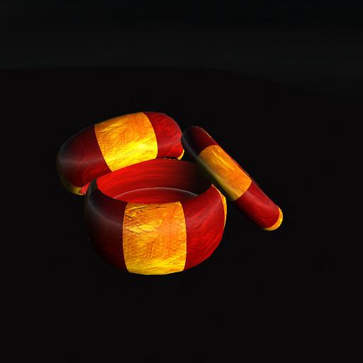 QT Swirl Bangle Set, Gold & Red