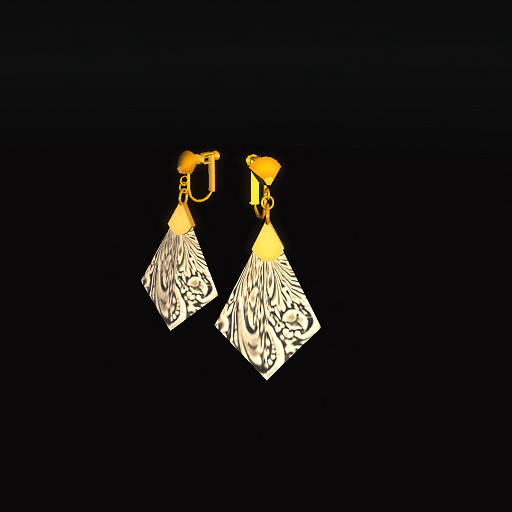 QT Carved Deco Earring Gold - Grey 1
