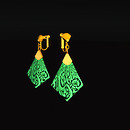 QT Carved Deco Earring Gold - - Green