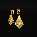 QT Carved Deco Earring Gold - Old Ivory