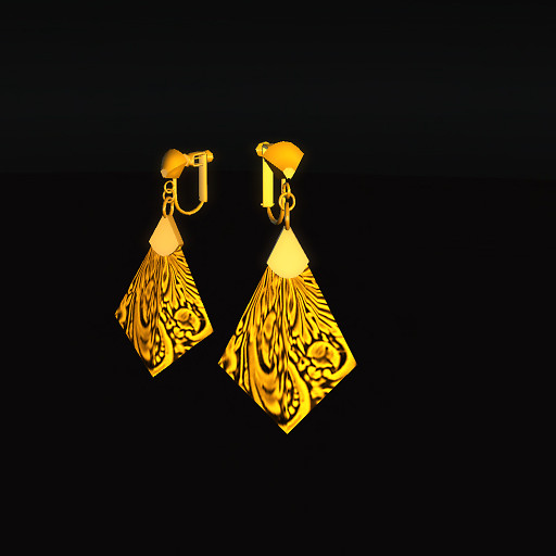 QT Carved Deco Earring Gold - gold