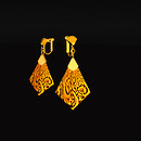 QT Carved Deco Earring Gold - orange