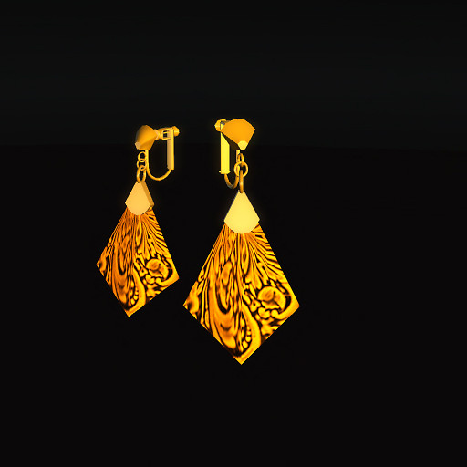 QT Carved Deco Earring Gold - orange