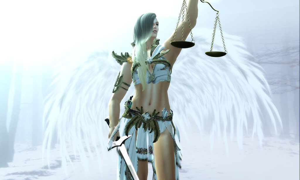 """justice for angel In this card, we have a beautiful angel holding the scales of justice in her right hand as she reaches towards the heavens her angel wings are outspread in a very confident and self-assured stance as if saying, """"i am here to provide you with guidance and protection as you move forward on your path."""
