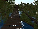 Swaying rope bridge above the bayou of Myst Haven