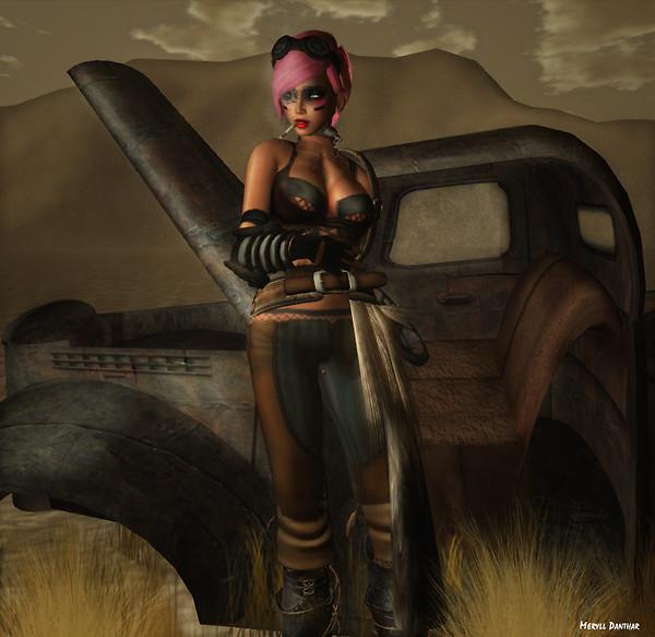 Apocalypse Girl- Rusty Chevrolet in the Dryland