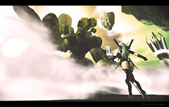 3D Battle Female avatar vs. Rock monster