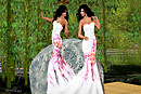 Dancing in Bamboo garden - Kathie &amp; Melli in Indya gown_011R