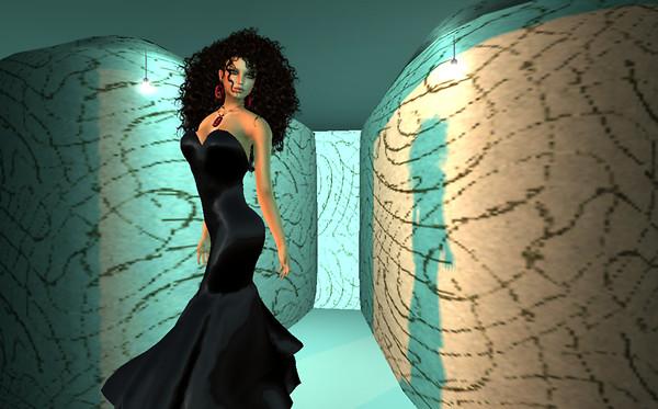 Bardot's Black mesh gown - half body