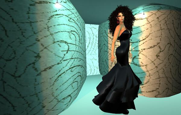 Bardot's Black mesh gown - full body