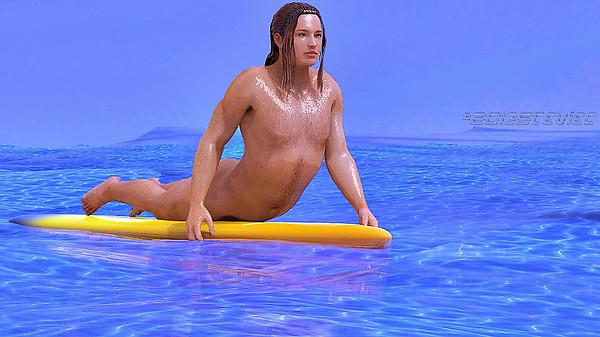Naked Surfer Waiting....