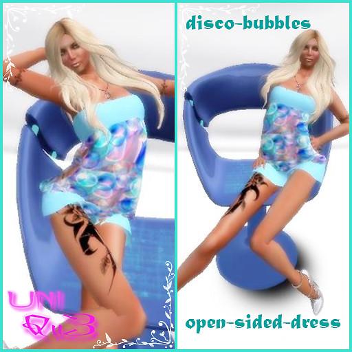 Mesh disco-bubbles-open-sided-dress