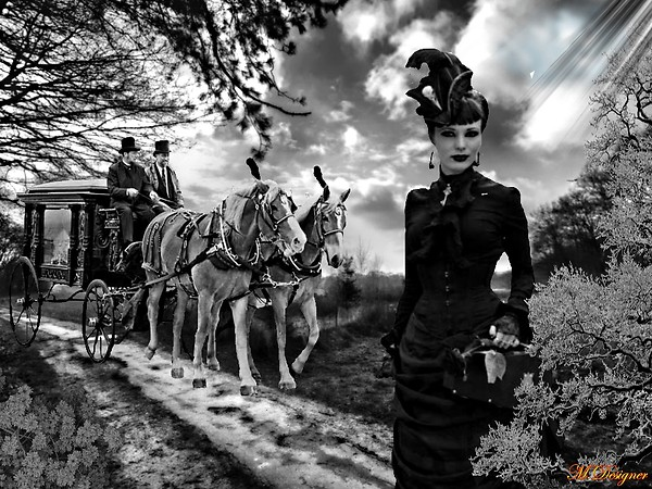 the lady and hearse