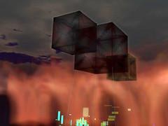 QT Galleries, cubic balloons, offsim fire & particles
