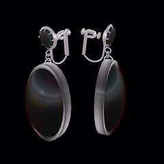 QT SC screw black & silver bouchon earring Vendor Image