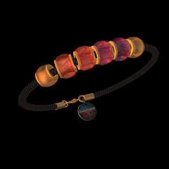 QT Fem cord bangle rose beads & tag vendor image