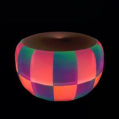 QT double checker ottoman - rose & dk purple vendor image