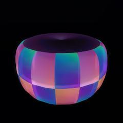 QT double checker ottoman - purple & Pink