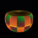 QT double checker ottoman - orange & green vendor image