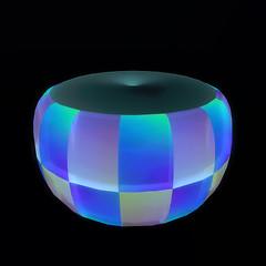 QT double checker ottoman - blue green vendor image