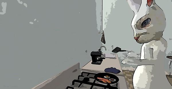Cooking Breakfast in Le Sammich Kitchen