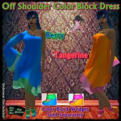 off shoulder color block dress