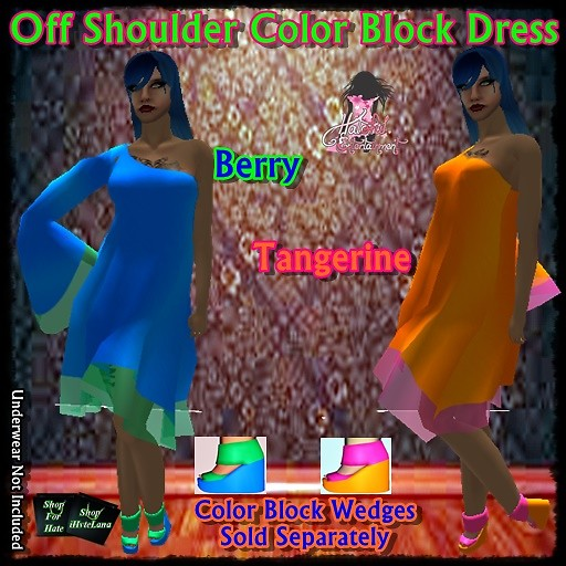 off shoulder color block dress