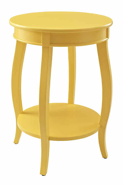 Yellow MDF Solid Wood Round Table with Shelf