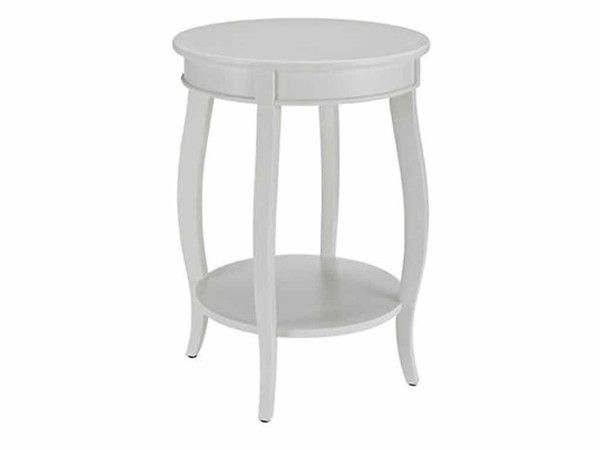 White MDF Solid Wood Round Table with Shelf
