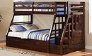 Jason Espresso Wood Twin-Full Bunk Bed with Storage Ladder and Trundle