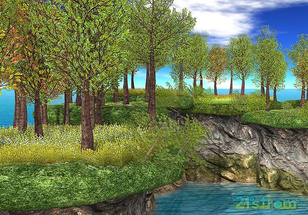 Forest Oak Landscapes with River Banks